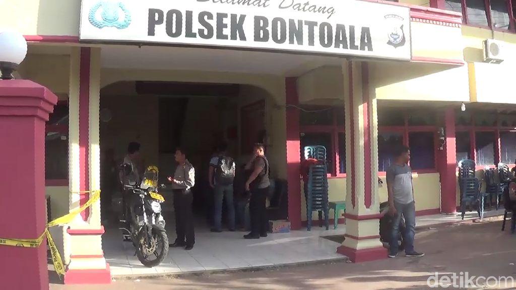 Penampakan Mapolsek Bontoala Pasca-Serangan Bom Molotov