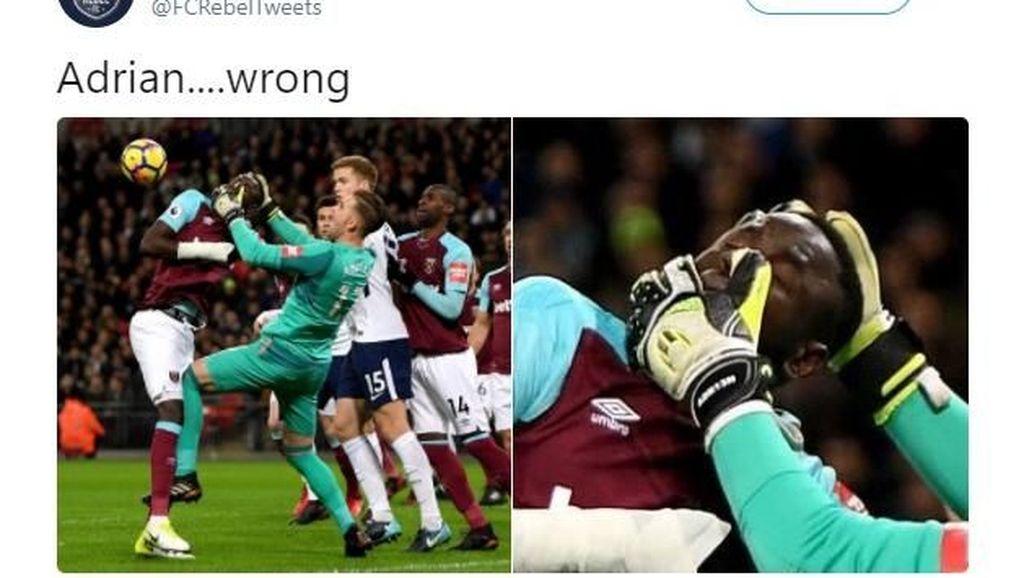 Salah Tangkap Kepala Teman, Kiper West Ham Ditertawakan Netizen