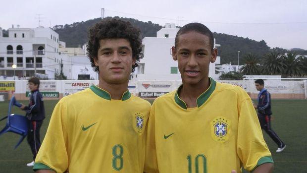 Neymar dan Philippe Coutinho saat masih remaja di timnas Brasil.
