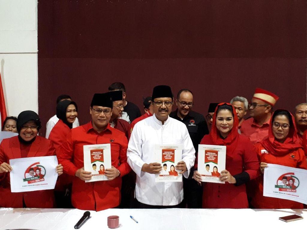 Jadi Jurkam PDIP di Pilgub Jatim, Risma Promosikan Gus Ipul-Puti