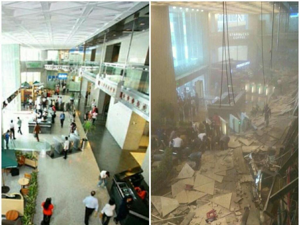 Before-After Selasar Gedung BEI yang Ambruk