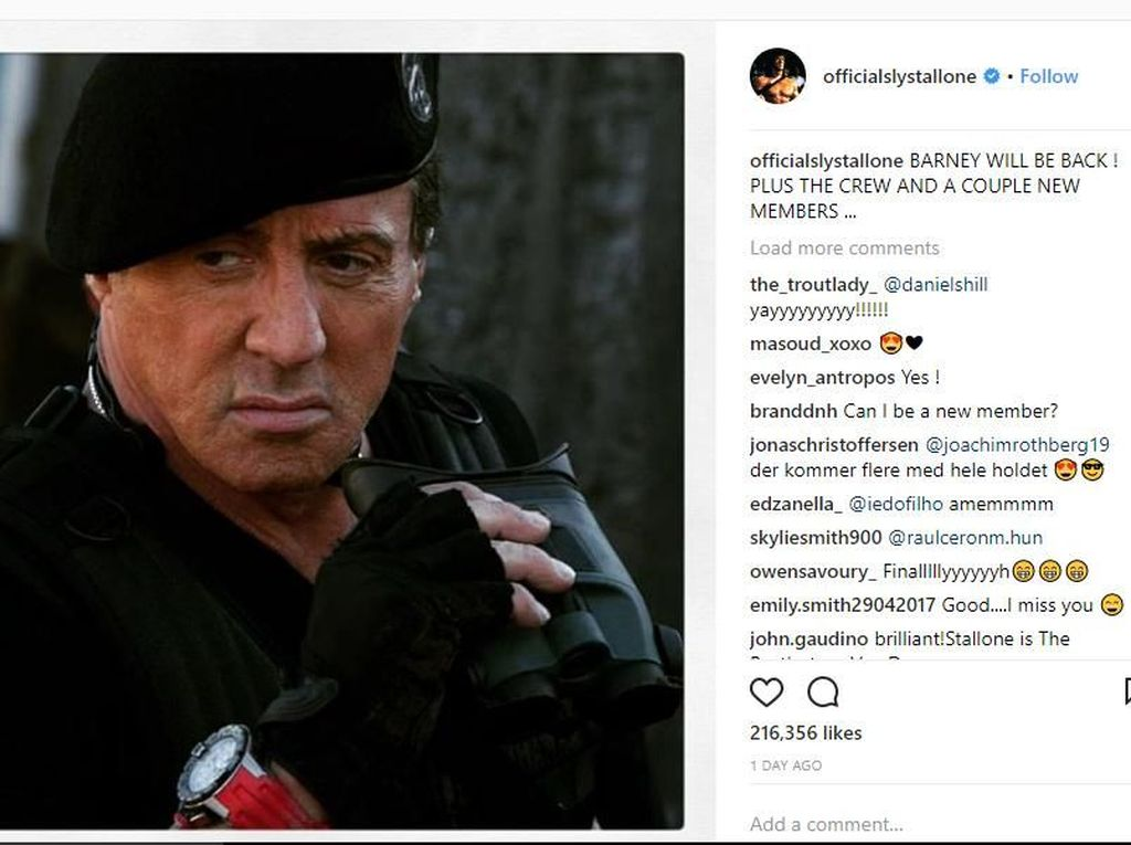 Via Instagram, Sylvester Stallone Bocorkan The Expendables 4