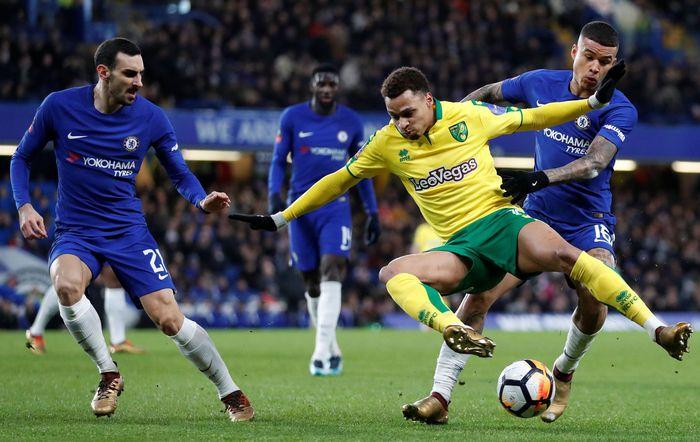 Pertandingan antara Chelsea melawan Norwich City digelar di Stamford Bridge, Kamis (18/1/2018) dinihari WIB. Peter Cziborra/Reuters.