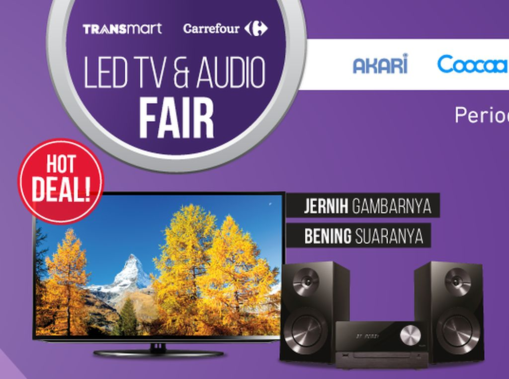 Triple Diskon LED TV 55 Digital Bermerek di Transmart Carrefour
