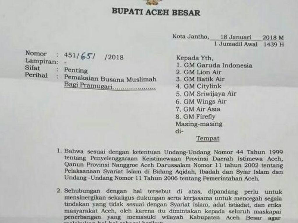 Bupati Wajibkan Pramugari yang Layani Rute Aceh untuk Berjilbab