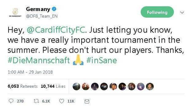 Timnas Jerman: Tolong Jangan Sakiti Pemain Kami, Cardiff!