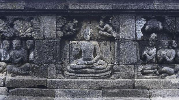 Salah satu relief di Candi Borobudur, Magelang, Jawa Tengah, Rabu (29/11). ANTARA FOTO/Sigid Kurniawan/18.