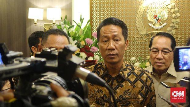 Ketua Badan Legislasi Supratman Andi Agtas usai bertemu Ketua DPR Bambang Soesatyo, Kamis (1/2)
