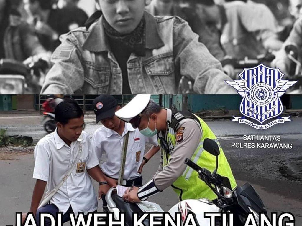 Foto: Meme Dilan-Effect Buatan Polres Karawang Soal Tertib Lalin