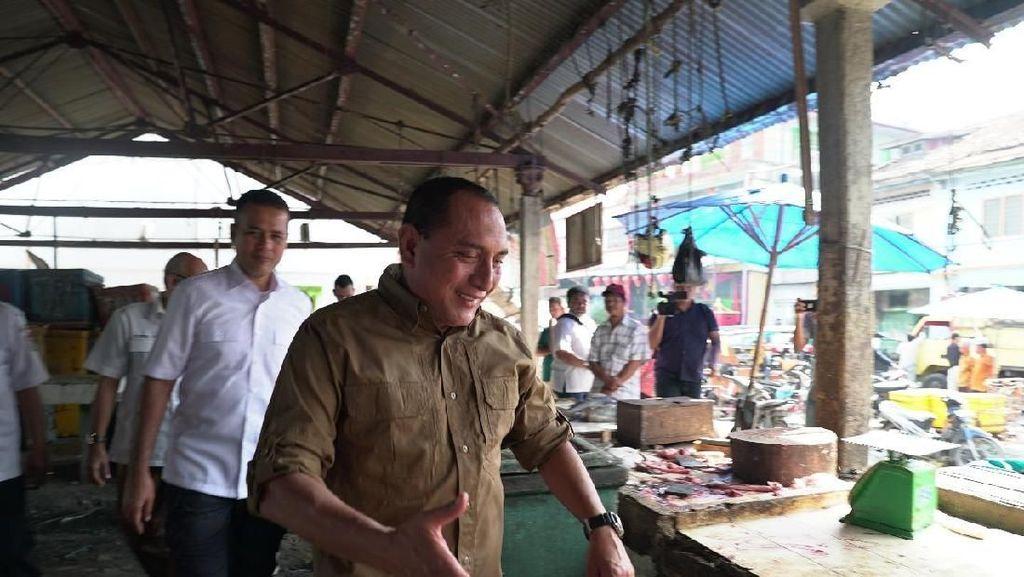 Edy Rahmayadi dan Musa Rajekshah ke Pasar Ikan Tanjungbalai