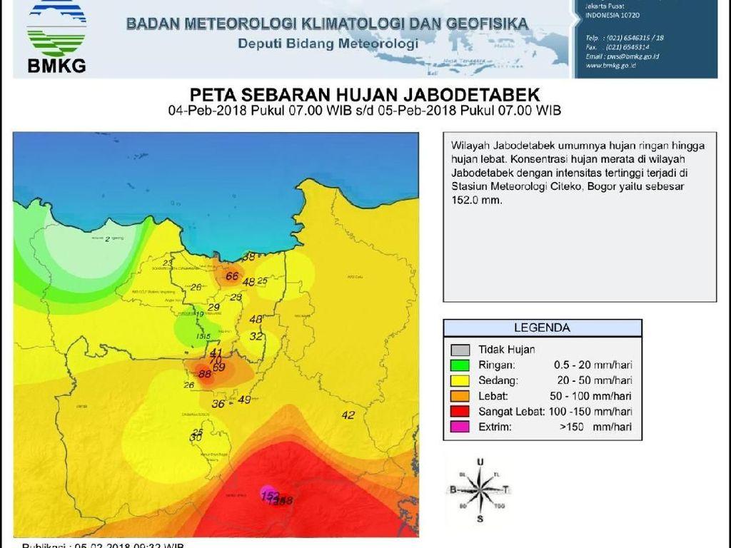 Jabodetabek Rata Diguyur Hujan, Intensitas Tertinggi di Bogor