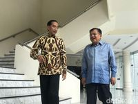 Presiden Jokowi dan Wapres JK usai makan bersama.
