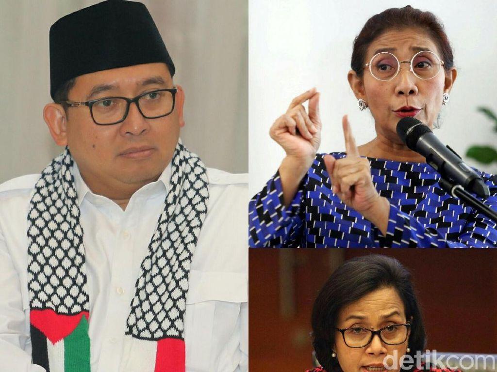 Sindiran Tajam Fadli Zon ke Menteri Susi hingga Sri Mulyani