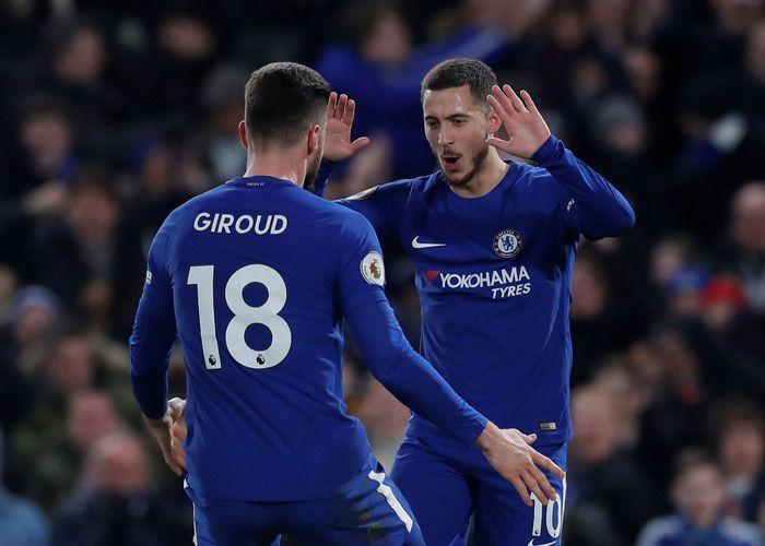Kepercayaan Antonio Conte itu dibayar Giroud dengan membuat assist untuk gol pertama Chelsea yang dicetak oleh Eden Hazard di menit ke-25. (Foto: Andrew Couldridge/Action Images via Reuters)