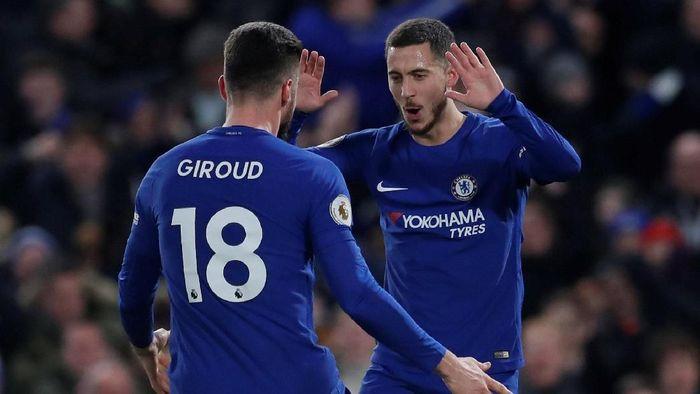 Olivier Giroud masih ingin terus main bersama Eden Hazard yang masa depannya di Chelsea sedang dispekulasikan (Foto: Andrew Couldridge/Action Images via Reuters)