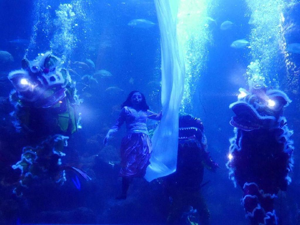 Foto: Saat Barongsai dan Dewi Langit Beraksi di Bawah Laut