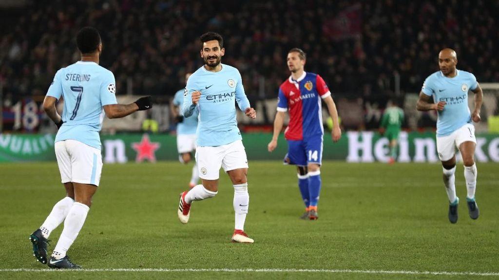 Guendogan Dua Gol, City Libas Basel 4-0