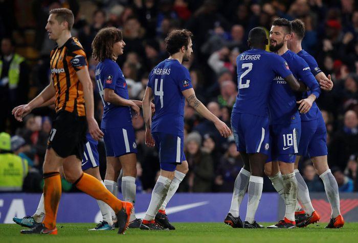 Chelsea berlaku sebagai tuan rumah dengan menjamu Hull di Stamford Bridge, Sabtu (17/2/2018) dinihari WIB. Kemenangan the Blues ditentukan dengan gol-gol yang semuanya tercipta di babak pertama. (Foto: Eddie Keogh/Reuters)