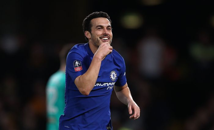 LONDON, ENGLAND - FEBRUARY 16:  Pedro of Chelsea celebrates after scoring his teams second goal of the game during The Emirates FA Cup Fifth Round match between Chelsea and Hull City at Stamford Bridge on February 16, 2018 in London, England.  (Photo by Catherine Ivill/Getty Images)