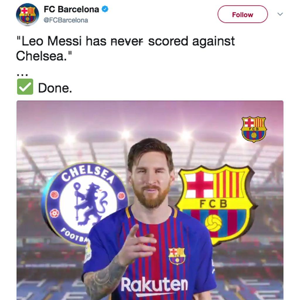Meme-meme Messi Jebol Gawang Chelsea