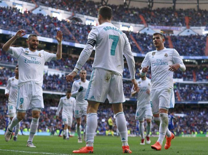 Cristiano Ronaldo merayakan gol ke gawang Alaves. (Foto: Gonzalo Arroyo Moreno/Getty Images)
