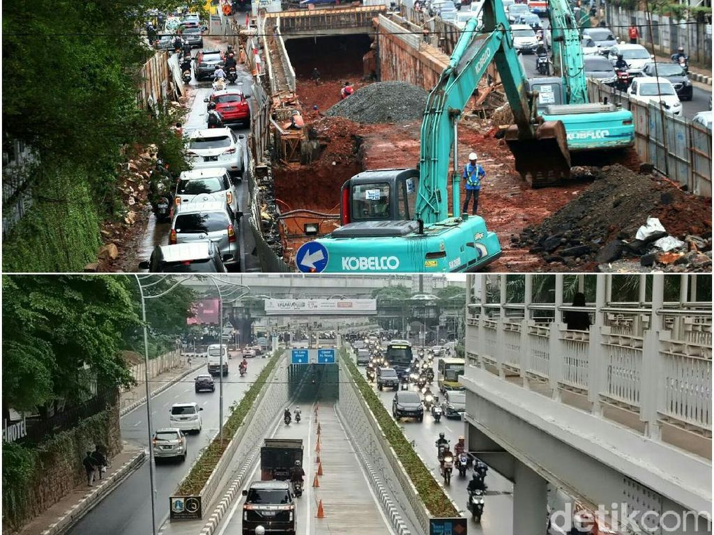 Before-After Underpass Kartini yang Diresmikan Anies