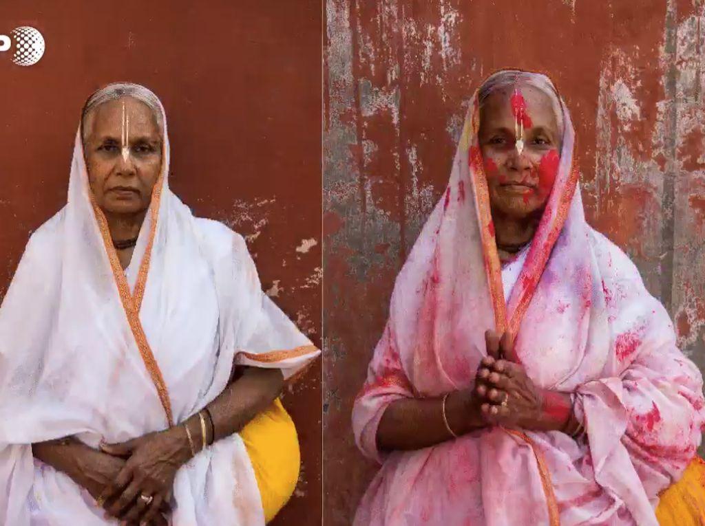 Before-After Kaum Janda yang Ikuti Festival Warna di India Utara