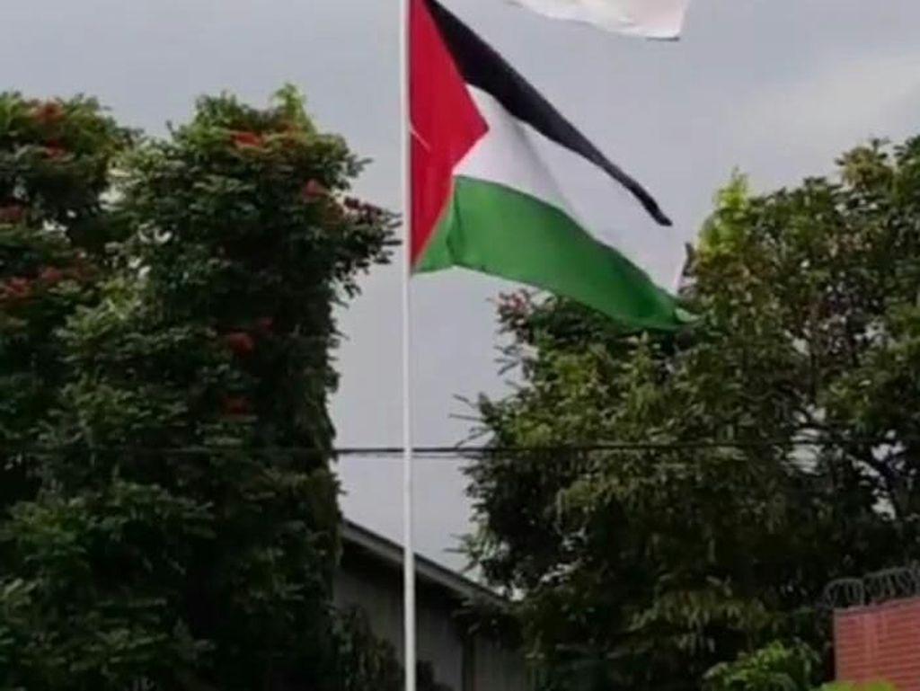 Akhir Aksi Hendry Pasang Bendera Merah Putih dan Palestina di 1 Tiang