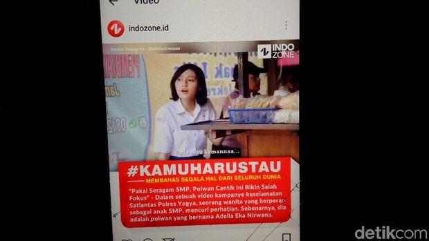 Screenshot video Bripda Adelia Eka Nirwana yang viral karena pakai seragam SMP.