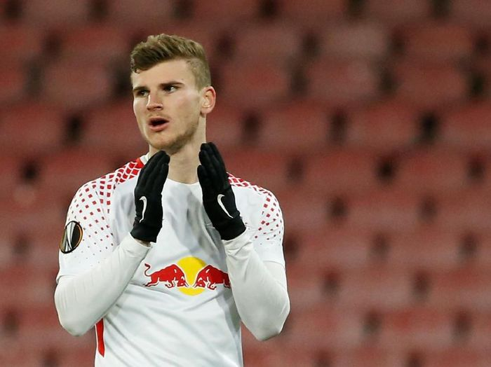Soccer Football - Europa League Round of 32 First Leg - Napoli vs RB Leipzig - Stadio San Paolo, Naples, Italy - February 15, 2018   RB Leipzigs Timo Werner reacts          REUTERS/Ciro De Luca