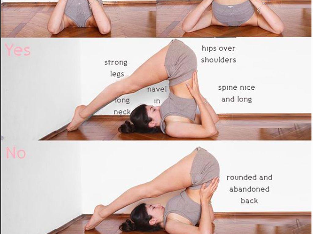 Komparasi Pose Yoga yang Benar dan Kesalahan Para Pemula