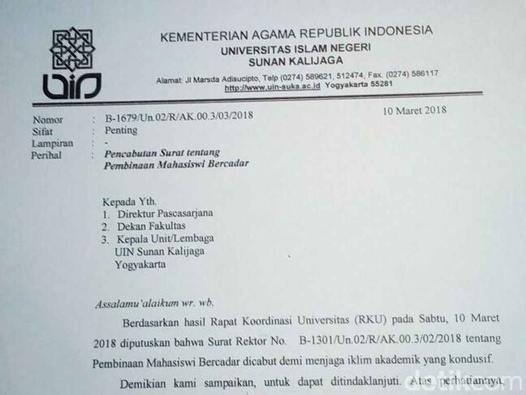 Akhiri Polemik, UIN Yogya Cabut Surat Pembinaan Mahasiswi Bercadar
