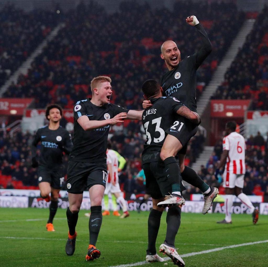 Dua Gol David Silva Menangkan City di Kandang Stoke
