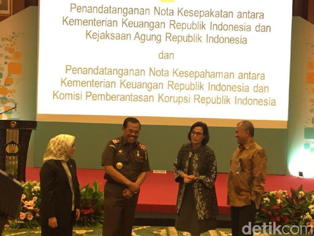 Menkeu-Jaksa Agung-KPK Teken MoU Lelang Barang Rampasan Pidana