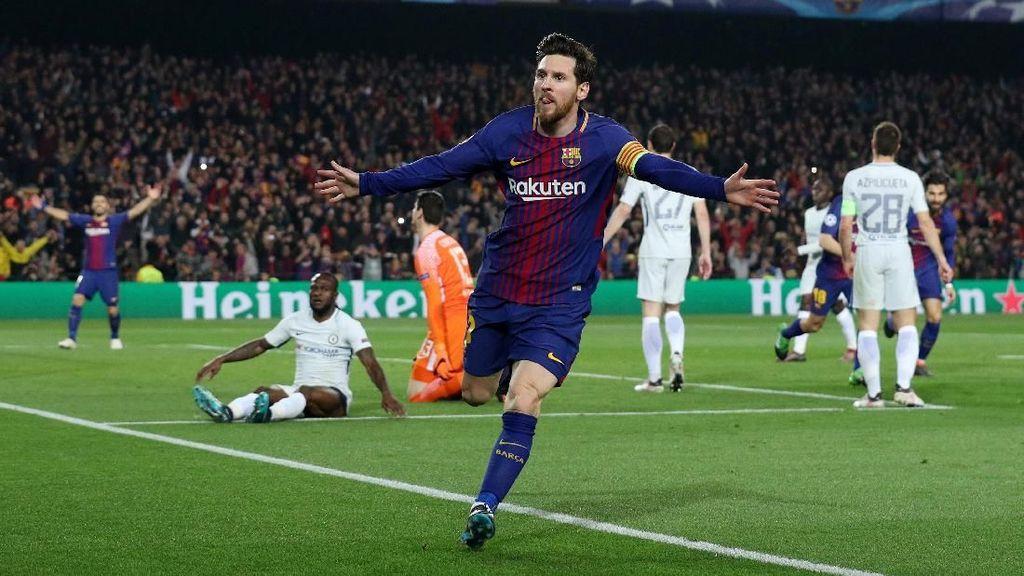 Aksi Messi Catatkan 100 Gol di Liga Champions