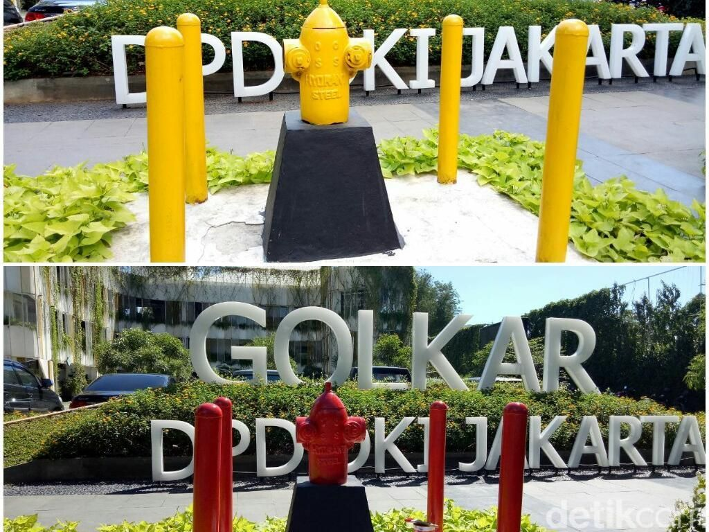 Before-After Fire Hydrant di Golkar DKI dari Kuning Jadi Merah