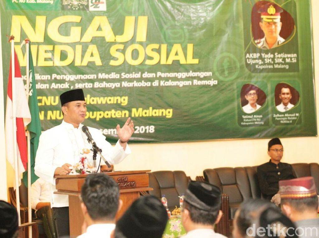 Tangkal Hoax, Polres Malang Ngaji Medsos Bareng Warga NU
