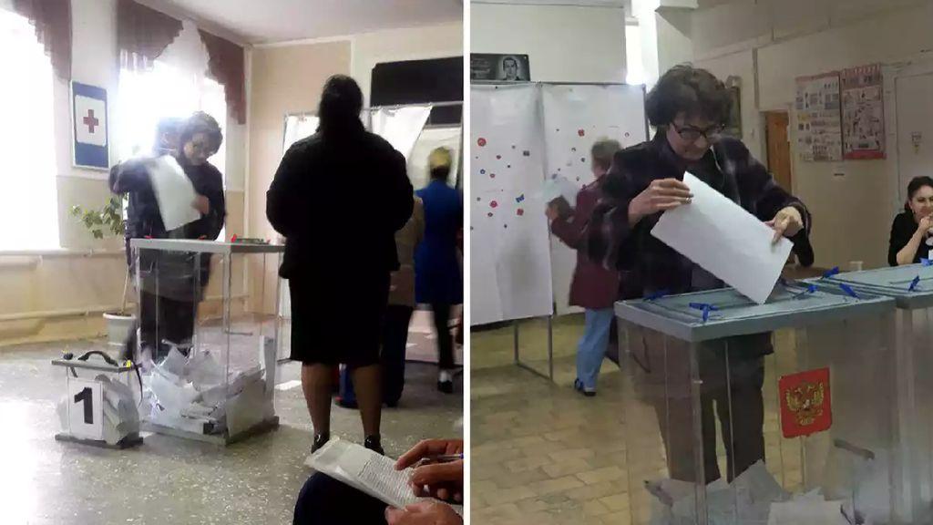 Warga Rusia Ketahuan Nyoblos 2 Kali Lewat Foto-foto Ini, Benarkah?