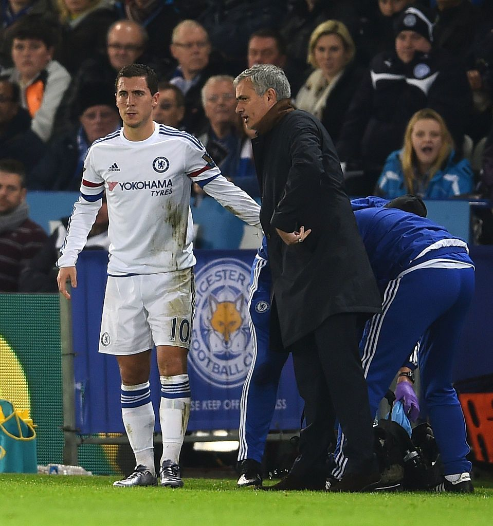 LEICESTER, ENGLAND - DECEMBER 14:  Jose Mourinho the manager of Chelsea speaks with Eden Hazard of Chelsea as he receives medical treatment during the Barclays Premier League match between Leicester City and Chelsea at the King Power Stadium on December14, 2015 in Leicester, United Kingdom.  (Photo by Laurence Griffiths/Getty Images)