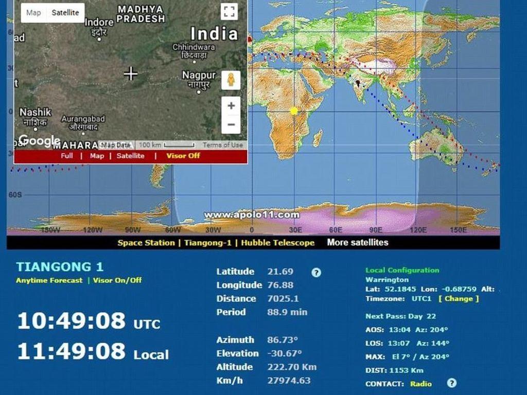 Satelit Tiangong-1 Milik China Jatuh ke Indonesia 3 April?