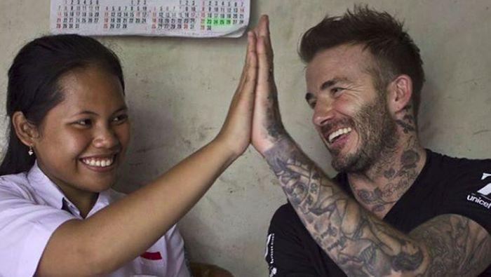 Sripun bersama David Beckham (Instagram David Beckham)