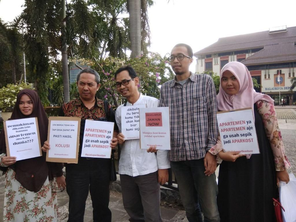 Warga Beji Timur Protes Pembangunan Apartkos di Tengah Permukiman