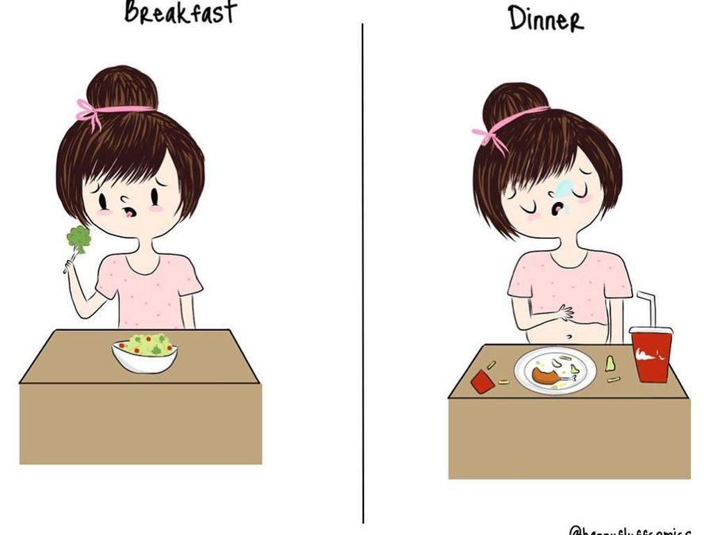 10 Ilustrasi Lucu yang Sering Dialami Cewek Ingin Diet Tapi Hobi Makan