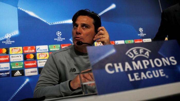Pelatih Sevilla Vincenzo Montella jelang pertandingan menghadapi Bayern Munich. (Foto: Jon Nazca/Reuters)