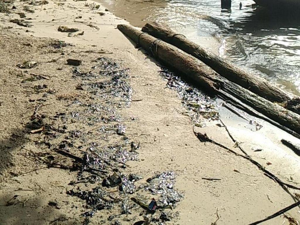 Penampakan Minyak Hitam Misterius yang Tumpah di Pulau Pari