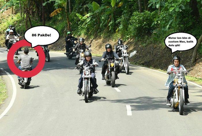 Kalau bisa, sekalian bikin motornya jadi kustom juga. (Foto: Twitter @elgarsn14)