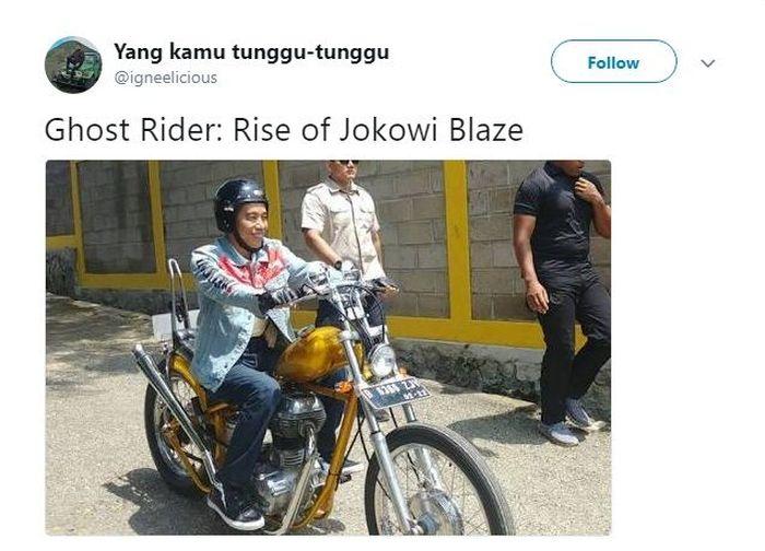 Kalau Jokowi berperan di film Ghost Rider berikutnya kece gak? (Foto: Twitter @igneelicious)