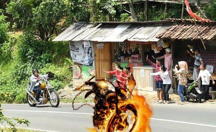 Sekalinya ada yang berani, langsung Ghost Rider yang menantang balapan. (Foto: Twitter @victorkamang)