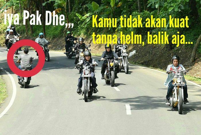 Karena dia tidak pakai helm, pria ini disuruh pulang oleh Jokowi. (Foto: Twitter @robert_samosir)