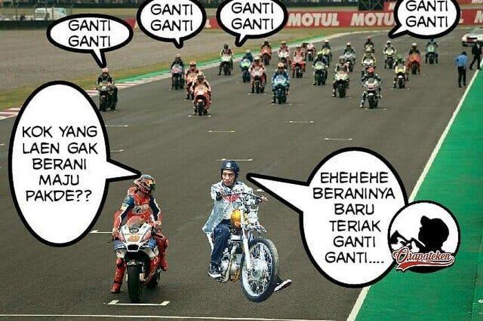 Ada yang berani tantang Jokowi balapan? (Foto: Instagram/@orapateken)